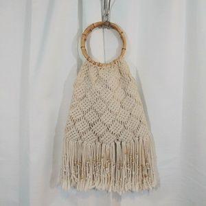 Vintage(?)Macrame Fringe purse w/wood handle/beads
